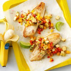 Weißfisch mit Bananen-Mango Salsa