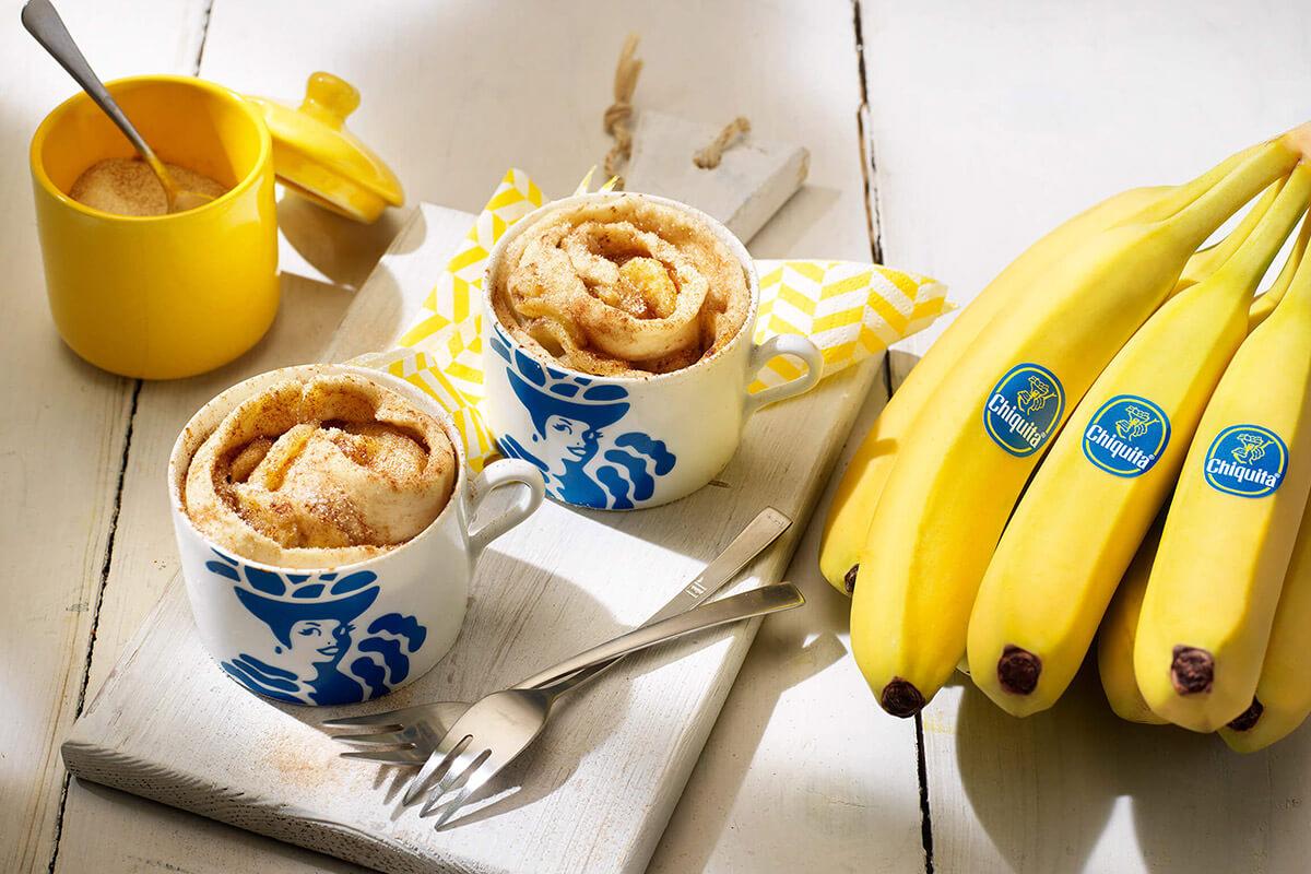 Zimtschnecken Tassenkuchen mit Chiquita Bananen
