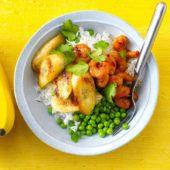 Garnelen-Bananen Pfanne mit Erbsen