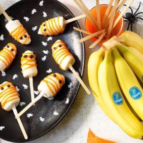 Halloween-Geister-Stieleis mit Chiquita Bananen und Joghurtglasur