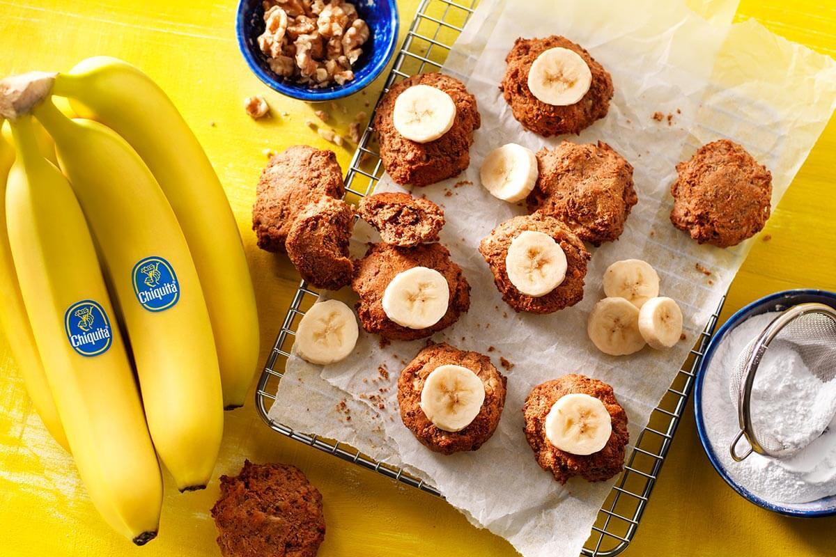 Vegane Chiquita Bananenbrotplätzchen aus überreifen Bananen | Chiquita-Rezepte