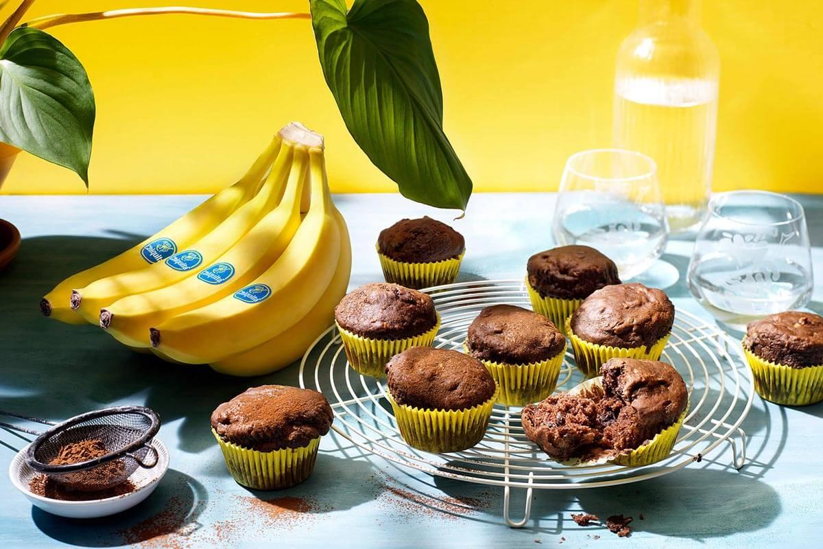 Vegane Schokomuffins mit Chiquita Bananen
