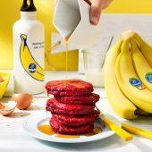 Pfannkuchen mit Roter Bete und Chiquita Banane für Sumo-Kniebeugen