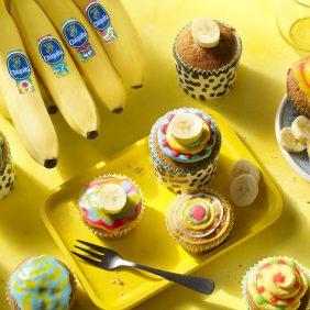 Kunstvolle Cupcakes mit Chiquita Bananen