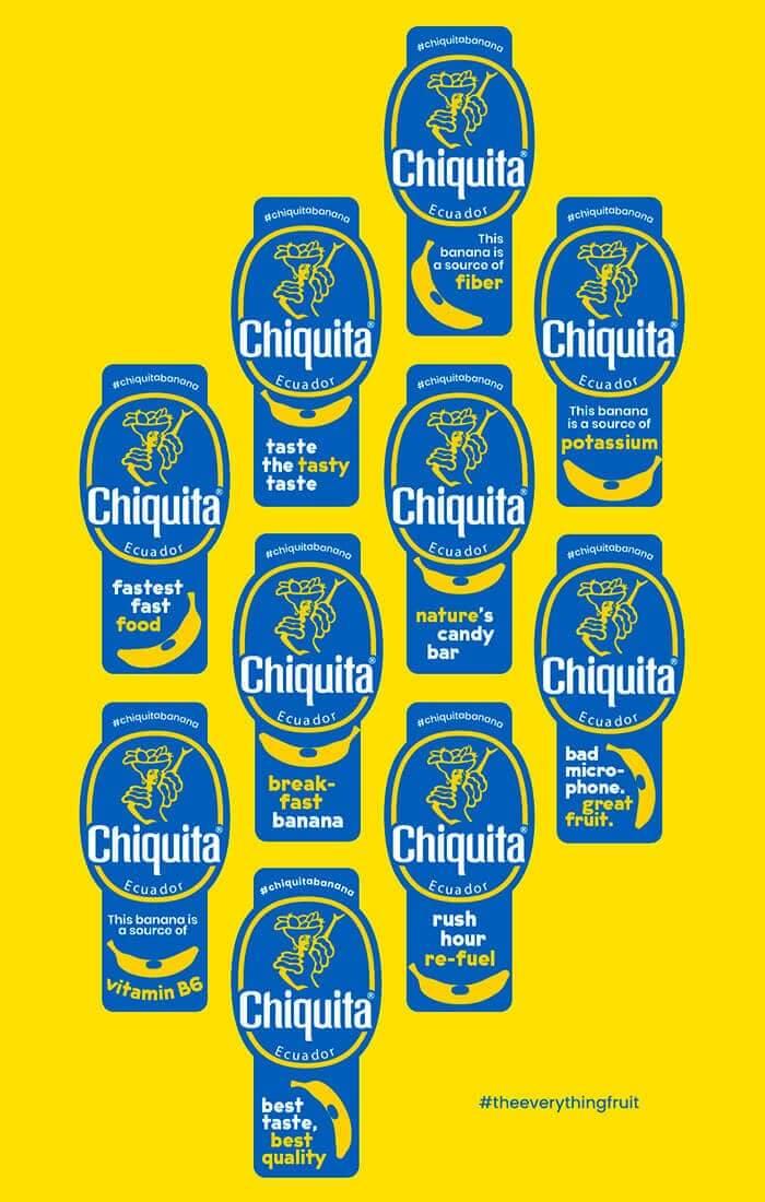 Chiquita Banane, die Sticker der vielseitigen Frucht