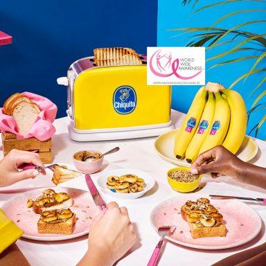 Veganer Toast mit ChiquitaBananen, Sonnenblumenkernbutter und Sonnenblumenkernen